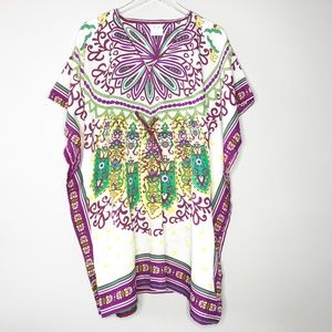 Other - Boho Swim Cover-up in Purple Yellow and Green OSFM
